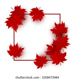 Canada day design of red maple leaves isolated on white background with line frame vector illustration