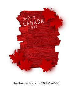 Canada day design of red maple leaves and brush stoke texture on white background vector illustration