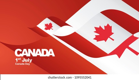 Canada Day flag ribbon landscape background