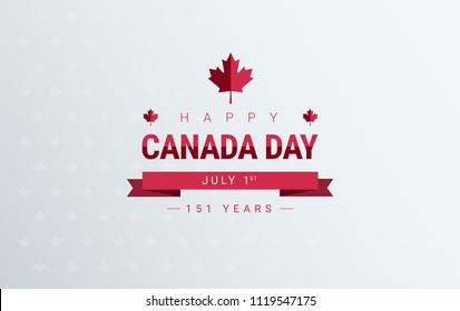 Canada Day greeting card background - red Happy Canada Day typography design, Canada maple leaf, July 1st greeting card vector
