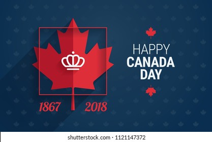 Canada Day greeting card - Happy Canada Day text and maple leaf on blue background for Canada national day celebration - vector illustration