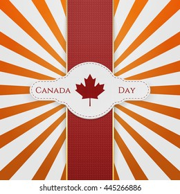 Canada Day national Emblem with red Ribbon