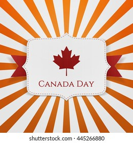 Canada Day patriotic Emblem with Ribbon