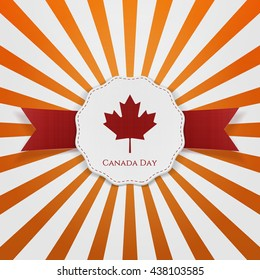 Canada Day textile red and white greeting Badge