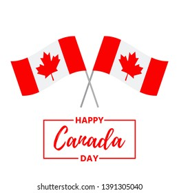 Canada Day. Vector. Happy Canada Day banner with flags. Greeting card, poster, background template. Colorful illustration.