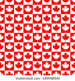 Canada Day Vector Patterns in Red and White Maple Leaf. Simple background. Vector background.  Happy Celebration Banner. 1st July. Texture for fabrics, cards, fabrics, posters, boxes, packages, gifts.