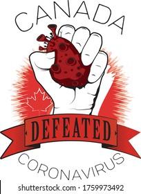 canada defeated coronavirus vector color printable template tshirt