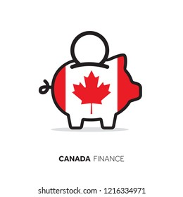 Canada economic concept. Piggy bank with national flag.