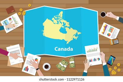 canada economy country growth nation team discuss with fold maps view from top vector illustration
