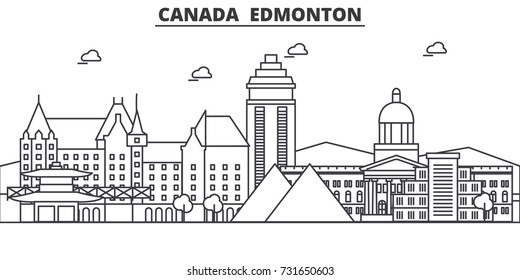 Canada, Edmonton architecture line skyline illustration. Linear vector cityscape with famous landmarks, city sights, design icons. Landscape wtih editable strokes