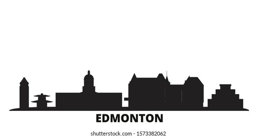 Canada, Edmonton city skyline isolated vector illustration. Canada, Edmonton travel black cityscape
