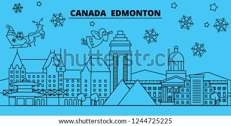 canada edmonton winter holidays skyline merry christmas happy new year decorated banner with