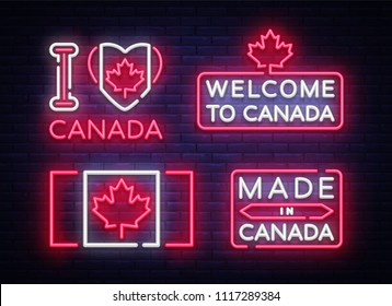 Canada flag badges collection neon vector sign. I love Canada, Made in Canada symbol banner light, bright night Illustration. Vector illustration