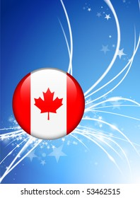 Canada Flag Button on Abstract Light Background Original Illustration