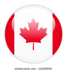 Canada flag button on white