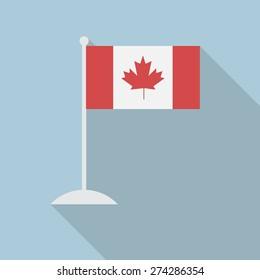 Canada flag with flagpole flat icon with long shadow. Vector illustration EPS10