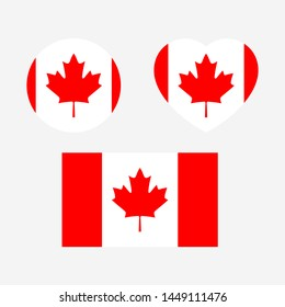 Canada Flag icon sign template color editable. Canada national symbol vector illustration for graphic and web design.