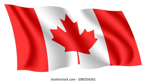 Canada flag. Isolated national flag of Canada. Waving flag of Canada. Fluttering textile canadian flag. Canadian ensign. The Maple Leaf.