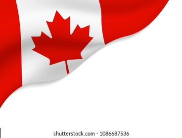 Canada flag isolated on white background with copy space vector illustration