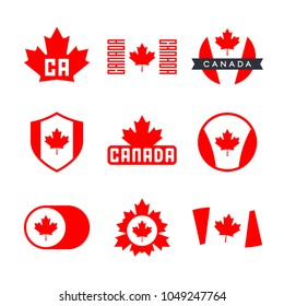 Canada flag, logo design graphics with the Canadian flag and red maple leaf