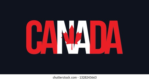 Canada flag. Montreal text lettering with flag illustration. Canada word with flag design. Canadian Flag.