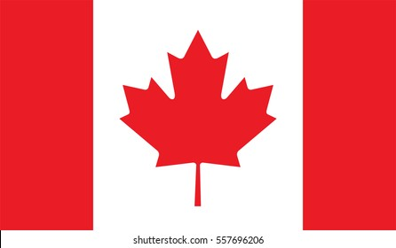 Canada flag, official colors and proportion correctly. National Canada flag. Vector illustration. EPS10.