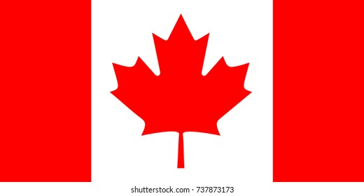 Canada flag, official colors and proportion correctly. National Canada flag vector illustration.