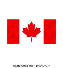 canada flag on geometris style red on white background