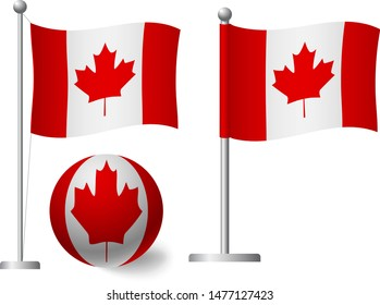 Canada flag on pole and ball. Metal flagpole. National flag of Canada vector illustration