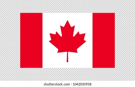 canada flag on transparent background. canada flag Template for independence day. vector illustration