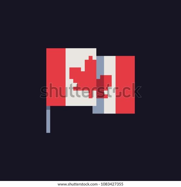 Image Vectorielle De Stock De Canada Flag Pixel Art Icon