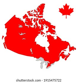 Canada flag red vector map on isolated white background.