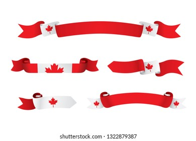 Canada flag ribbon isolated on white background. Vector illustration