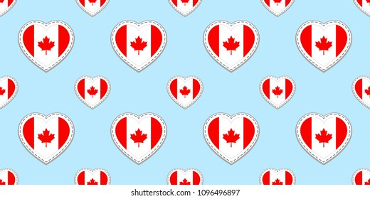Canada flag seamless pattern. Vector Canadian, flags stickers. Love hearts symbols. Background for sports pages, travel, school, geographic, cartographic elements. patriotic design
