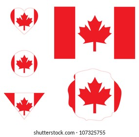Canada flag sign set, buttons and icons