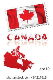 Canada FLAG STAMP MAP VECTOR