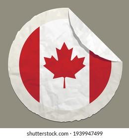 Canada flag symbol on a paper label