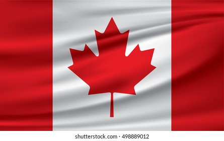 Canada flag, three dimensional render, satin texture