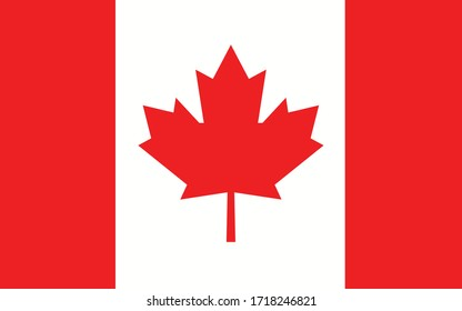 Canada flag vector graphic. Rectangle Canadian flag illustration. Canada country flag is a symbol of freedom, patriotism and independence.