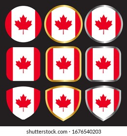 canada flag vector icon set with gold and silver border