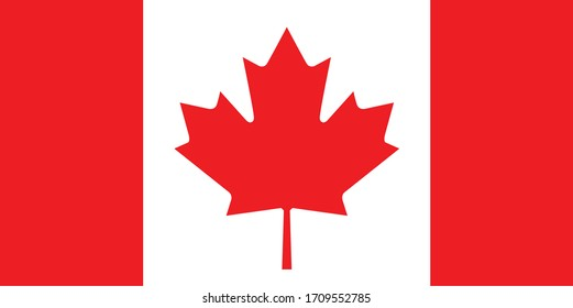 Canada flag vector illustration isolated on white background, Vector of Canada flag.