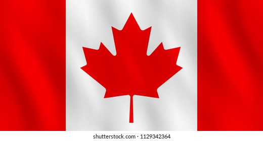 Canada flag with waving effect, official proportion.