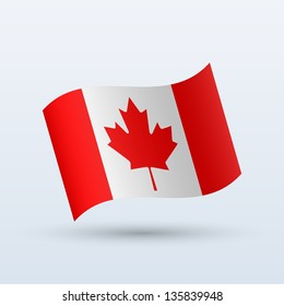 Canada flag waving form on gray background. Vector illustration.