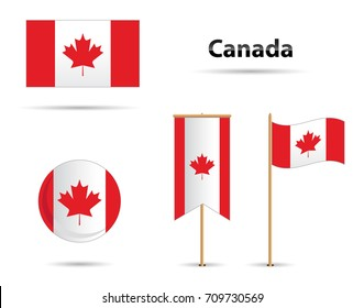Canada Flags set, with maple leaf
