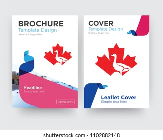 canada goose brochure flyer design template with abstract photo background, minimalist trend business corporate roll