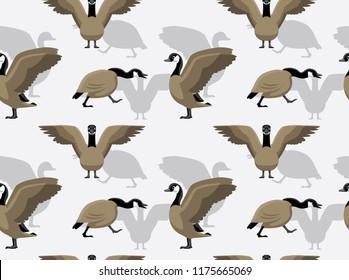 Canada Goose Walking Cartoon Background Seamless Wallpaper
