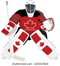 Canada hockey goalie in red dress on white background