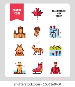 Canada icon set 2. Include Canada landmark, Maple leaf, landscape, red fox and more. Filled outline icons Design. vector