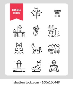 Canada icon set 2. Include Canada landmark, Maple leaf, landscape, red fox and more. Outline icons Design. vector