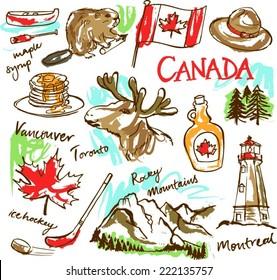 Canada icon vector doodle set